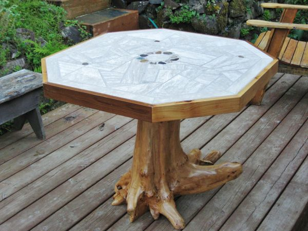 Mosaic Tile Patio Table With Tree Stump Pedestal Daric