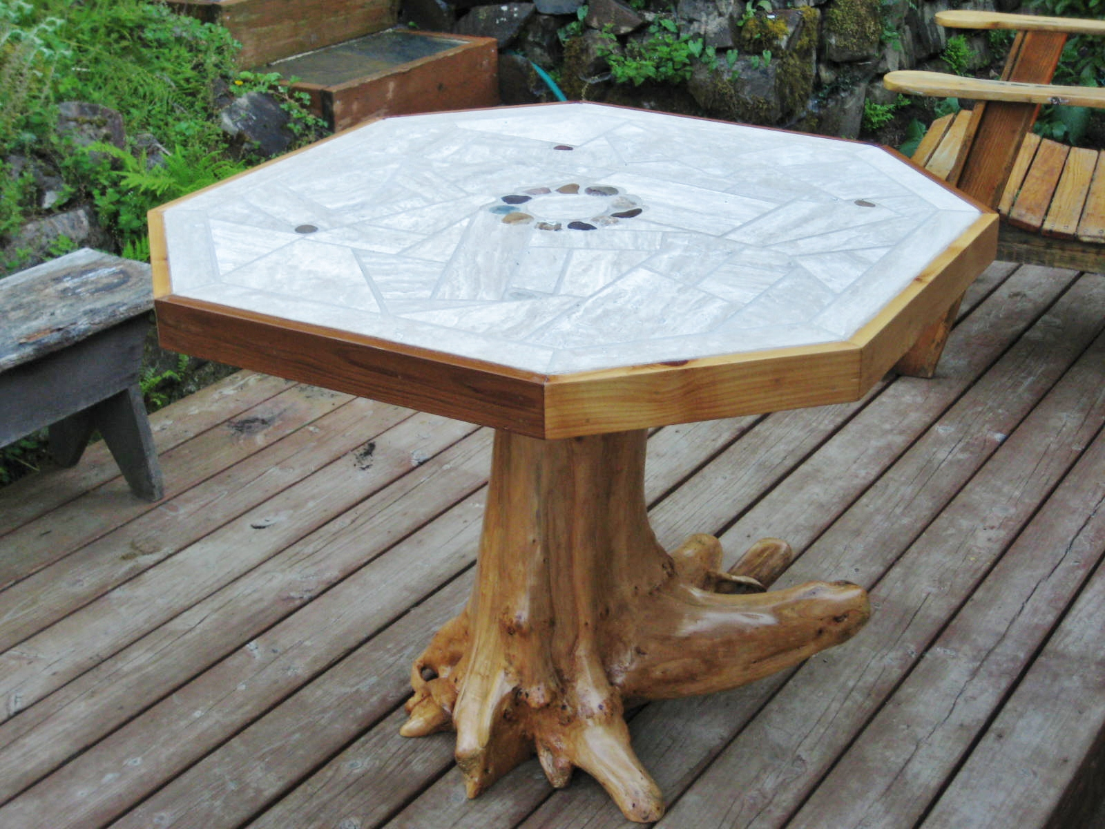 tree stump furniture. Mosaic Tile Patio Table With Tree Stump Pedestal Furniture